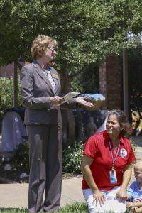 Brenda DeVore of the Keller Chamber of Commerce at St Martin's Episcopal Preschool