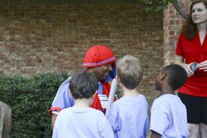 St. Martin mascot greets preschool k